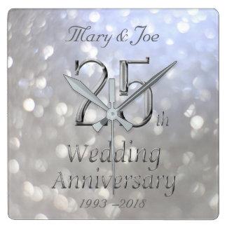 Silver Wedding Anniversary 25th Anniversary Bokeh Square Wall Clock
