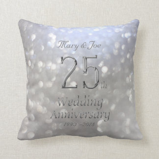 Silver Wedding Anniversary 25th Anniversary Bokeh Throw Pillow