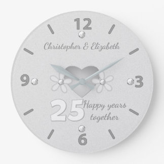 Silver Wedding Anniversary Clock