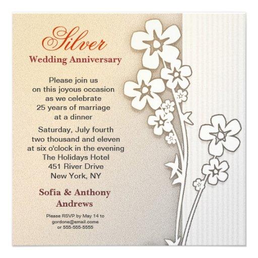 silver wedding anniversary design invitations