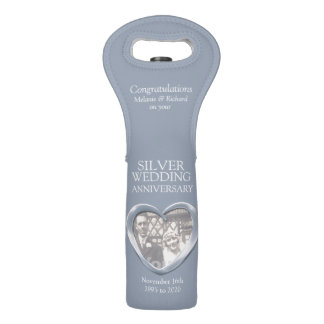 Silver wedding anniversary heart photo wine bag