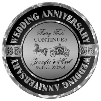 Silver Wedding Anniversary-Horse & Carriage Porcelain Plate