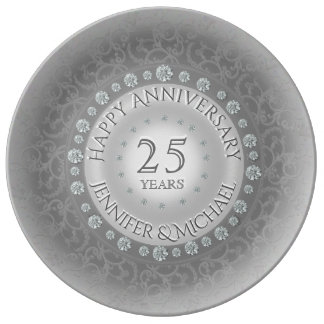 Silver Wedding Anniversary Plate