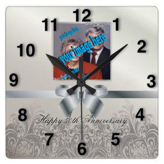 Silver Wedding Anniversary Square Wall Clock