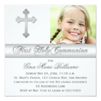Silver White First Holy Communion Photo Invitation
