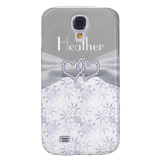 Silver & White Stars & Snowflakes Personalize Galaxy S4 Case