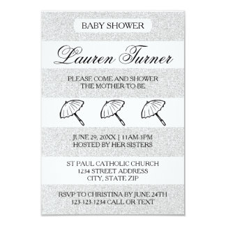 Silver& White Stripes - 3x5 Baby Shower Invitation