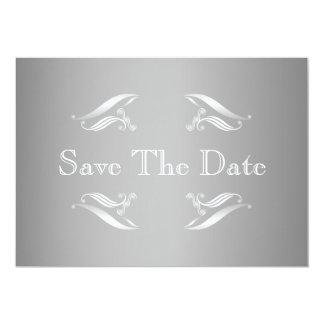 Silver White Winter Save The Date Card 13 Cm X 18 Cm Invitation Card