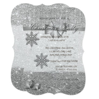 SilverSnowflakes ,Glittery,Company Christmas Party Card
