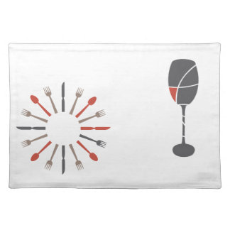 silverware and wine glass design placemat