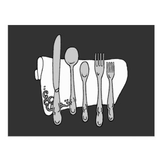 Silverware Black White Art Postcard