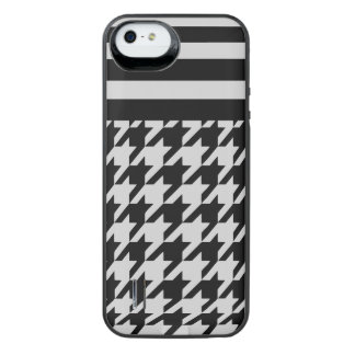 Silvery Houndstooth w/ Stripes 2 iPhone SE/5/5s Battery Case