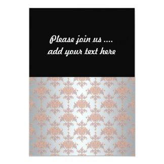 Silvery White Grey and Peachy Orange Damask 13 Cm X 18 Cm Invitation Card