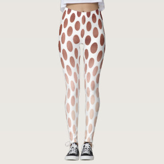 simple and clear rose gold foil polka dots pattern leggings