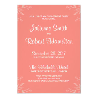 Simple and Elegant Coral Pink Engagement Party Card