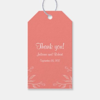 Simple and Elegant Coral Pink Wedding Favour Tags