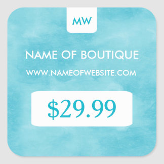 Simple Aqua Chic Boutique Monogram Price Tags Square Sticker