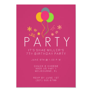 Simple Balloon Pink Girl's 7th Birthday Invite