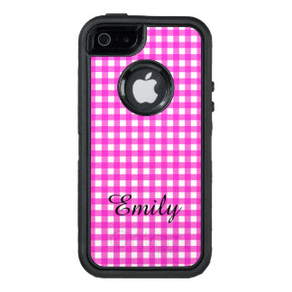 Simple Basic Hot Pink Gingham Pattern with Name OtterBox iPhone 5/5s/SE Case