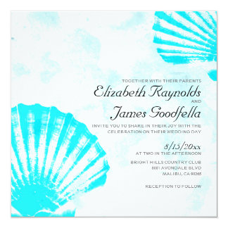 Simple Beach Seashells Destination Wedding Invites
