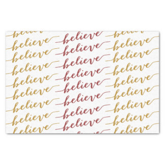 SIMPLE BELIEVE HOLIDAY GREETING | RED GOLD TISSUE PAPER