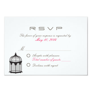Simple Bird Cage Wedding R.S.V.P. Card 9 Cm X 13 Cm Invitation Card