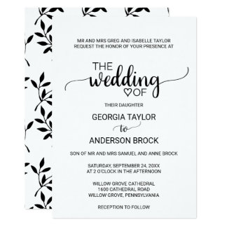 Simple Black and White Calligraphy Formal Wedding Card