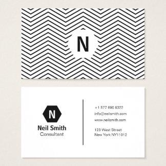 Simple black and white chevron stripe professional business card