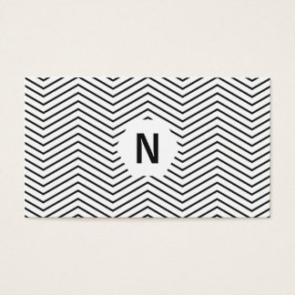 Simple black and white chevron stripe professional business card