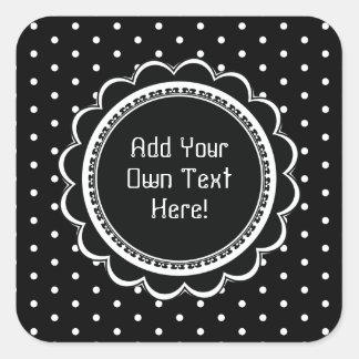 Simple Black and White Polka Dot Custom Text Square Sticker