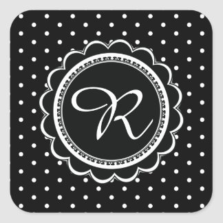 Simple Black and White Polka Dot Monogram Retro Square Sticker