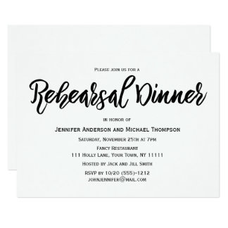 Simple Black and White  Rehearsal Dinner Card