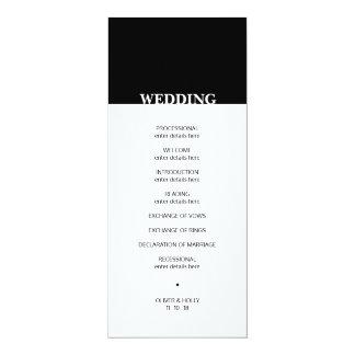 Simple black and white wedding program