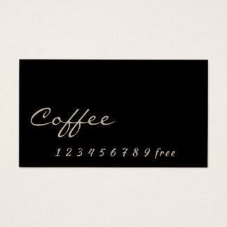 Simple black Coffee loyalty punch-card Business Card