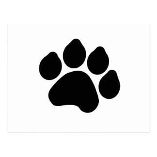 SImple Black Paw Print ANIMAL LOVER Postcard
