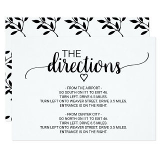 Simple Black & White Calligraphy Directions Insert Card