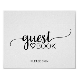 Simple Black & White Calligraphy Guest Book Sign Poster