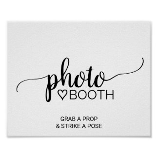 Simple Black & White Calligraphy Photo Booth Sign Poster