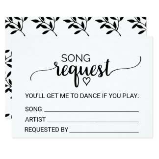 Simple Black White Calligraphy Song Request Card
