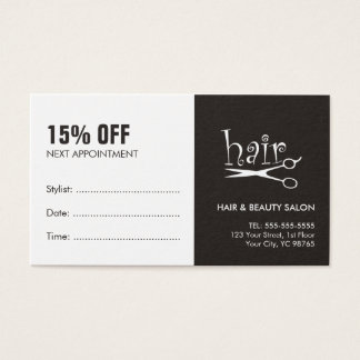 Simple Black White Hair Appointment Coupon Card