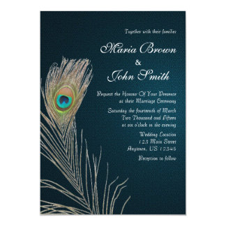 Simple Blue Peacock Feather Wedding Invite