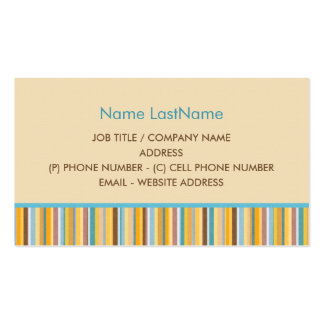 Simple Blue, Yellow, Orange, Brown Stripes Design Pack Of Standard Business Cards