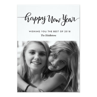 Simple Casual Happy New Year Script Photo Card