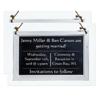 Simple Chalkboard Save The Date Cards