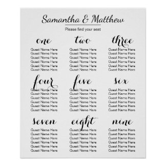 Simple & Chic Wedding | Seating Chart Poster