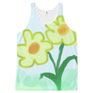 Simple Childish Flowers Watercolor Finger Painting All-Over Print Singlet