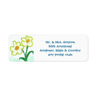 Simple Childish Flowers Watercolor Finger Painting Return Address Label