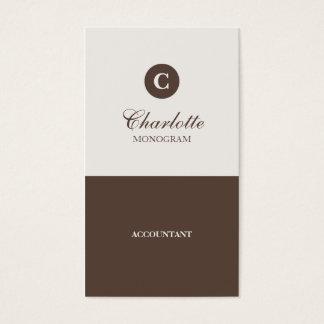 Simple Chocolate & Cream Monogram Business Cards