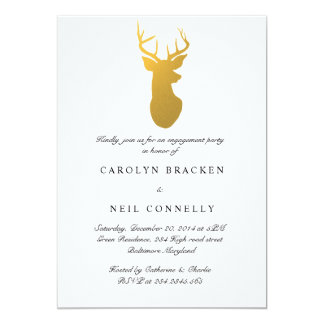 Simple Classy Gold Antler Modern Engagement Party Card