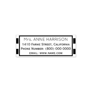 simple & clean classic address information framed self-inking stamp